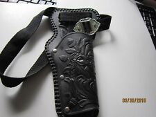 Black toy Leather Gun Holster with Horse etching & web belt & silver buckle