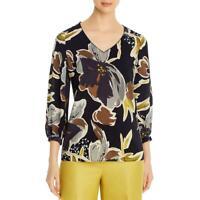 Lafayette 148 New York Womens Silk Floral V-Neck Blouse Top BHFO 1718