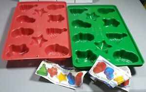 Christmas Jell-o Jigglers Molds x3 - See Pictures - Tree, Santa, Snowman