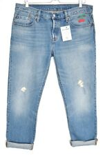 Levis 501ct BOYFRIEND Blue LOOSE CHERRY EMBROIDERED Ripped Jeans 12 14 W30 L32