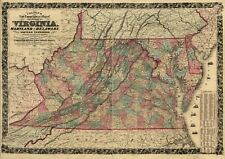 A4 Reprint of USA Town State Map Virginia Maryland Delaware Columbia