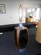 Awesome Vintage 1960's MCM Walnut Ribbon & Smoke LuciteTable Lamp