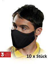 Mundschutz 10 Stück Maske 100% Baumwolle Atemschutz Stoffmaske 3 lagig waschbar