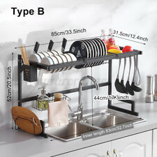 85cm Over The Sink Dish Drying Rack Stainless Steel Kitchen Cutlery Holder Shelf