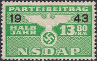 Stamp Germany Revenue WWII 1943 3rd Reich War Era Party Dues 13.80 MNG
