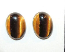 Tiger's Eye 12x16mm with 5mm dome Cabochons Set of 2 From Africa (10611)