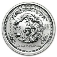 2000 Australia 50 Cents Series 1 Lunar Year of the Dragon 1/2 oz Silver BU Coin