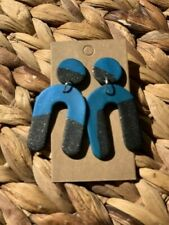 Posts - Black and Turquoise Statement polymer clay earrings. Surgical Steel