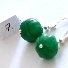 Lovely Pair of 925 Silver Natural Green Emerald Earrings, (A7)