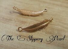Feather Links Feather Charms Rose Gold Charms Feather Connectors Curved Links 5