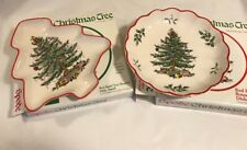 Spode Christmas Tree Set Of 2 Nut Candy Dishes Tree Shaped & Round