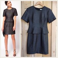 Whistles Size 10 Dress Black Silver Peplum Occasion Shift JIA £175 Party Ladies