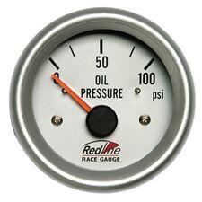 2 5/8 Oil Pressure Gauge Electric White Face Silver Bezel 258-11 Redline