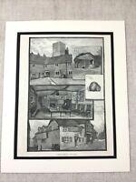 Antico Stampa Cobham Kent Landscape Pelle Bottiglia Inn Vittoriano Originale