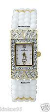 NEW Ladies Jules Jurgensen Crystal Accented White Beads Watch