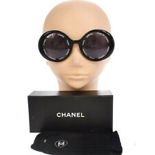 RARE!! Authentic CHANEL Vintage CC Logos Round Sunglasses Eye Wear Black AK10114