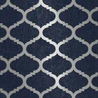 Navy Blue Wallpaper Trellis Geometric Metallic Textured Silver Feature Wall New