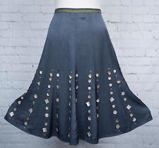Per Una Skirt Size 14 Grey Embellished Fishtail Midi Flippy Hem Shimmer Sequin