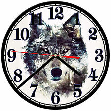 "8"" WALL CLOCK - Wolf 29 Wolves Spiritual - Kitchen Office Bathroom Bar Bedroom"