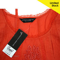 Ex Dorothy Perkins Burnt Orange Summer Tunic Embroidered Lace 6 10 12 14 16 18