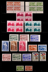 PHILIPPINES: 1950'S STAMP COLLECTION UNUSED SETS WITH BLOCKS