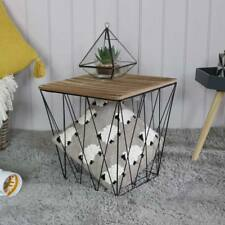 Wood metal wire square basket table storage living room occasiona side furniture