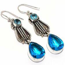 Blue Topaz Gemstone Handmade 925 Sterling Silver Jewelry Earring 2.3 5655
