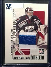 2007-08 ITG Between the Pipes Thomas McCollum Game Used Emblem Storm Flames
