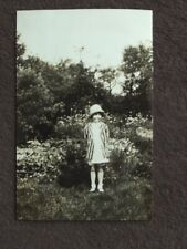 CUTE YOUNG GIRL IN STRIPED JACKET & HAT Vtg 1930 PHOTO