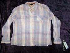 NWT New L/S Plaid Crinkel Blouse by Style and Co.  Sz 2