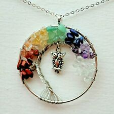 Chakra Tree of Life Owl Pendant Healing Crystal Stone Reiki Gemstone Necklace