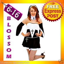 G84 Ladies Sexy Sister Nun Fancy Dress Halloween Hens Night Party Outfit Costume