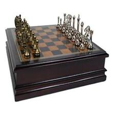"""Metal Chess Set With Deluxe Wood Board & Storage 2.5"""" King Toy Play Classic Game"""