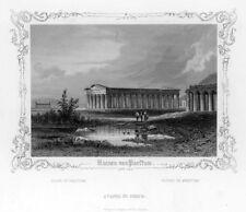 Paestum, Poseidon-Tempel, Original-Stahlstich mit Bordüre von ca. 1850