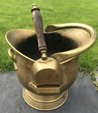 vintage brass coal skuttle scuttle / bucket and shovel