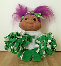 """Russ Troll Cheerleader Doll 5"""" Pom Poms Magenta Hair 2005"""