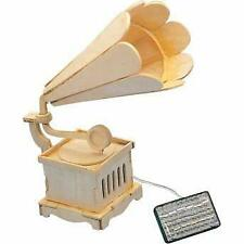 Solar Powered Wooden Gramophone with Music Educational Kit