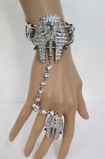 Women Egyptian King Pharaoh Bracelet Hand Chain Fashion Slave Ring Silver Crown