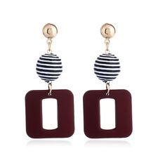 Geometric Hollow Square Earrings Round Ball Drop Dangle Ear Stud Earring Jewelry