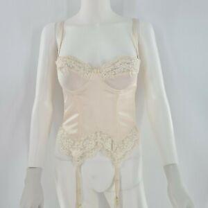 Victoria's Secret Vintage 90's Cream Silk Lace Corset Bustier 34B
