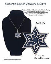 """Star of David Jewish Jewelry Judaic Dancing Praising Necklace Rhodium 18"""" Chain"""