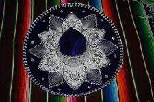 """Authentic Mexican Mariachi-Sombrero Charro Hat True Adult 23"""" Blue/Silver"""