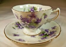 ROSSETTI SPRING VIOLETS OCCUPIED JAPAN GOLD TRIM HAND PAINTED CUP & SAUCER SET!