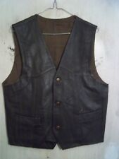 Vintage Western en cuir Moto Vest Taille Manteau sans Manches Veste Taille S Cow-boy