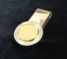 1880 $5 Gold Half Eagle 22K .900 fine Gold Coin / 14K Money Clip