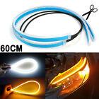 2x60CM DRL LED Headlight Strip Light Daytime Running Sequential Turn Signal Lamp