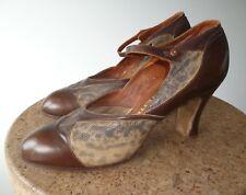 Magnifique Vintage Antique Chaussures en cuir et peau de serpent Requin Marron 1920 S UK 5.5