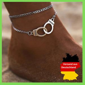 Fußkettchen Handschellen Fessel Silber Fußkette Fusskette Schmuck Geschenk Damen