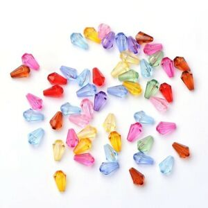 50 Acrylic Teardrop Beads Assorted Lot Faceted 9mm BULK Faceted Wholesale
