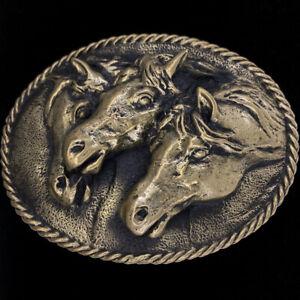 Bronze Horse Gift Sculpture 3D 4H Western Cowboy Cowgirl 90 Vintage Belt Buckle